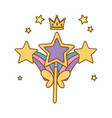 wand with rainbow and crown vector image vector image