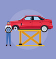 worker on car factory vector image vector image
