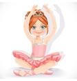 Ballerina girl in pink dress sit on floor isolated vector image