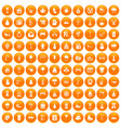 100 winter holidays icons set orange vector image vector image