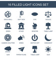 16 light icons vector image vector image