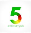 5 anniversary green logo vector image