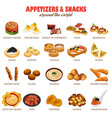 appetizers and snacks icons vector image vector image