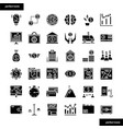 Banking and financial solid icons set