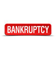 bankruptcy red three-dimensional square button vector image