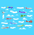 banners with planes flying airplanes with banner vector image vector image