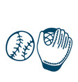 baseball glove icon in doodle style isolated on vector image vector image