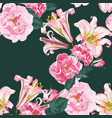 beautiful pink lily flowers and roses pattern vector image vector image