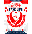 blood donation poster for health charity design vector image vector image