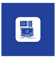 blue round button for computer devices mobile vector image