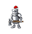 cartoon knight full body armor suit standing with vector image