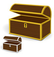 chest 3d empty wooden chest with gold and silver vector image