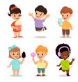 children set cute kids with popcorn smartphone vector image