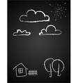 Childrens drawing of clouds in chalk vector image vector image