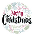 circle shape set for merry christmas vector image vector image