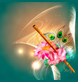 concept hare krishna lotus and flute vector image vector image