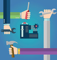 Construction concept of hands with tools repairing vector image vector image