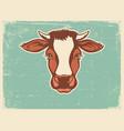cow head farm animal vintage poster vector image vector image