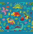 cute cartoon dinosaurs endless background vector image