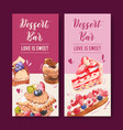 dessert flyer design with strawberry cake puff vector image vector image