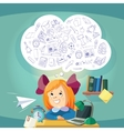 Dreaming school girl at the desk vector image vector image