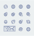 earth planet globe icons set in thin line style vector image vector image