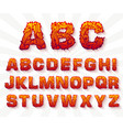 fire set font alphabet text on a whitebackground vector image vector image