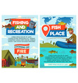 fisherman catching and cooking in camp vector image vector image