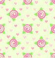 flower pattern - roses and hearts seamless vector image vector image