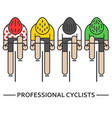 four flat bicyclists vector image vector image