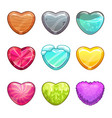 game assets set cartoon heart made from different vector image vector image