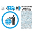 Global Manager Icon with 1000 Medical Business vector image vector image