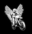 hand drawn of motorcyclist with wings tattoo vector image