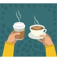 Hands with Cup Of Coffee vector image