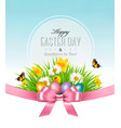happy easter background easter eggs in green vector image vector image