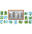 jigsaw puzzle game with trees in garden vector image vector image