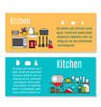 kitchen horizontal flyers in cartoon style vector image vector image