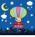 Little boy flying in a hot air balloon vector image