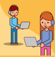logistic operator cartoon man and woman laptop vector image