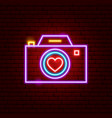 love camera neon sign vector image vector image