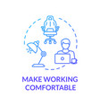 make working comfortable blue concept icon vector image vector image
