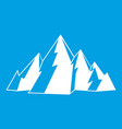 mountain icon white vector image