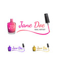 nail art logo template with nail polish vector image