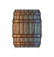 old wooden barrel in vintage engraving style side vector image