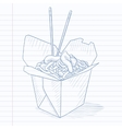 Opened take out box with chinese food vector image vector image