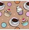 pattern with cup coffee and cakes vector image