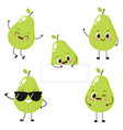 pear character with funny face vector image