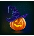 Realistic happy Halloween pumpkin in violet vector image vector image