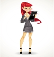 Red haired girl with black tablet computer vector image vector image