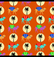 seamless pattern with camels sun and palm tree vector image vector image
